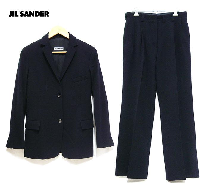 【JIL SANDER】ジルサンダー ヴァージンウール100% セットアップ サイズ34 ネイビー 紺 レディース スーツ テーラードジャケット パンツ ドイツ製 ON2488【中古】