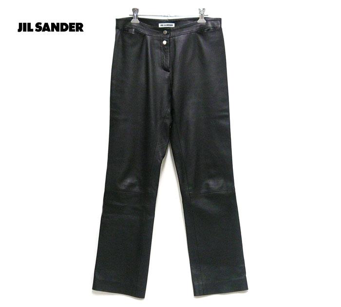 【JIL SANDER】ジルサンダー レザーパンツ サイズ36 レディース ブラック 黒 本革 革パンツ イタリア製 ON2490【中古】