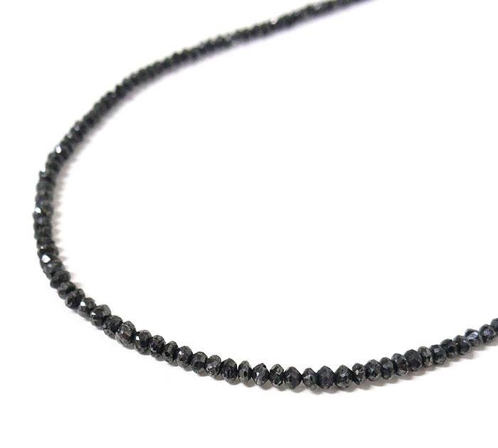 ブラックダイヤモンド ネックレス K14WG 14金ホワイトゴールド 20.00ct 約4.8g 42~47cm ブラックダイヤ 20ct アクセサリー ジュエリー ON2679【中古】