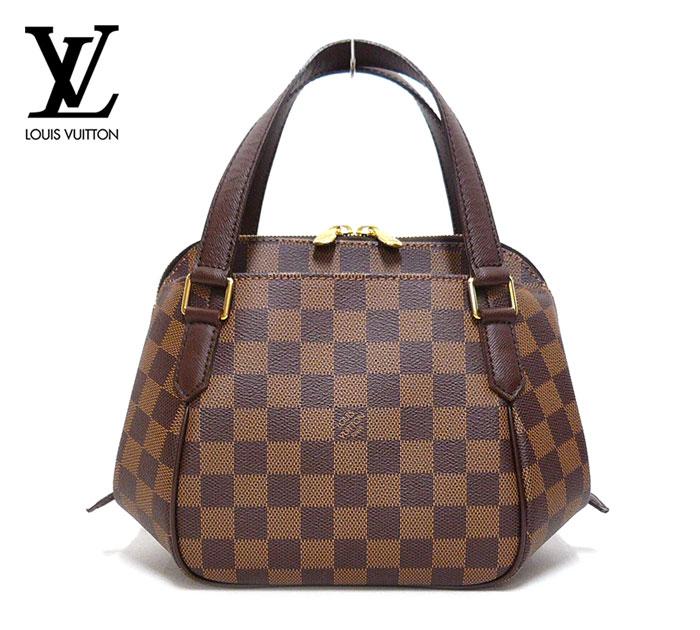 【LOUIS VUITTON】ルイヴィトン ダミエ エベヌ ベレムPM ハンドバッグ ブラウン×ゴールド金具 PVC×レザー N51173 保存袋 箱あり ON2787【中古】