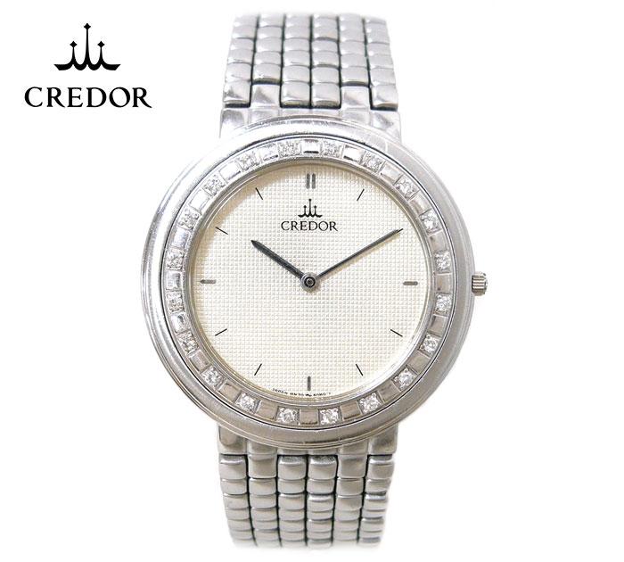 【SEIKO CREDOR】セイコー クレドール 20Pダイヤベゼル クォーツ メンズ腕時計 18KT×SS 稼働 シルバーカラー ダイヤモンド 8N70-6030 ON2834【中古】