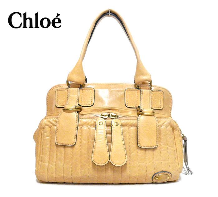 【Chloe】クロエ ベイ レザー ハンドバッグ ベージュ系 ゴールド金具 本革 イタリア製 保存袋あり ON2854【中古】