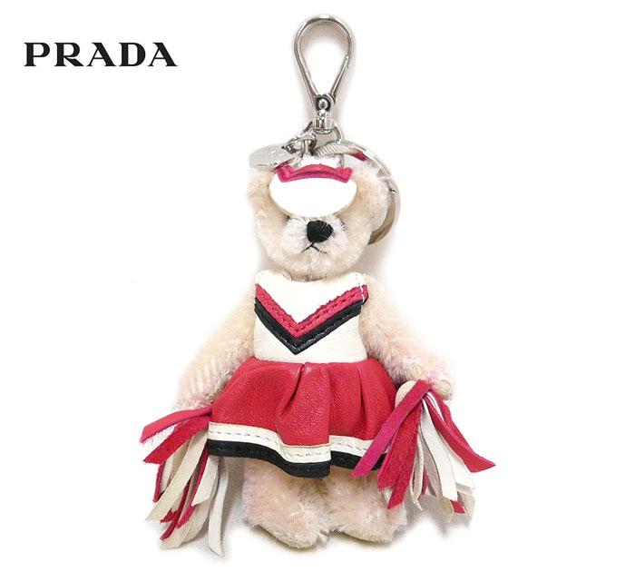 【PRADA】プラダ2012 テディベア キーホルダー チアガール くま レザー ピンク キーリング バッグチャーム ON3113【中古】