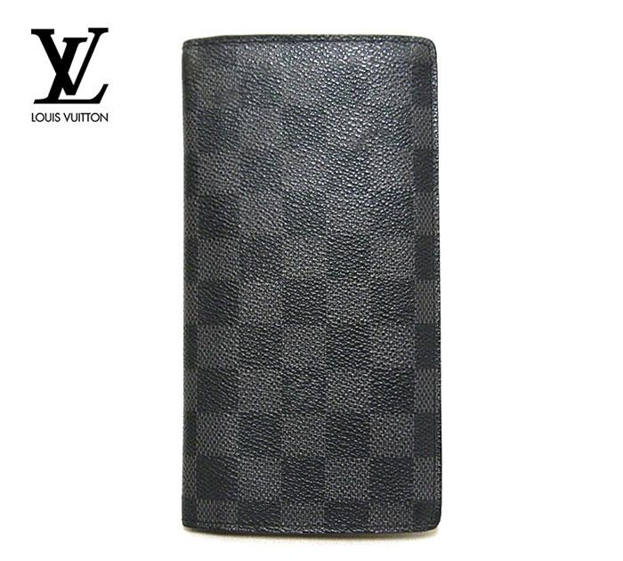 【LOUIS VUITTON】ルイヴィトン ダミエ グラフィット ポルトフォイユ ブラザ 二つ折り 長財布 ウォレット PVC ブラック×グレー 黒 N62665 ON3295【中古】
