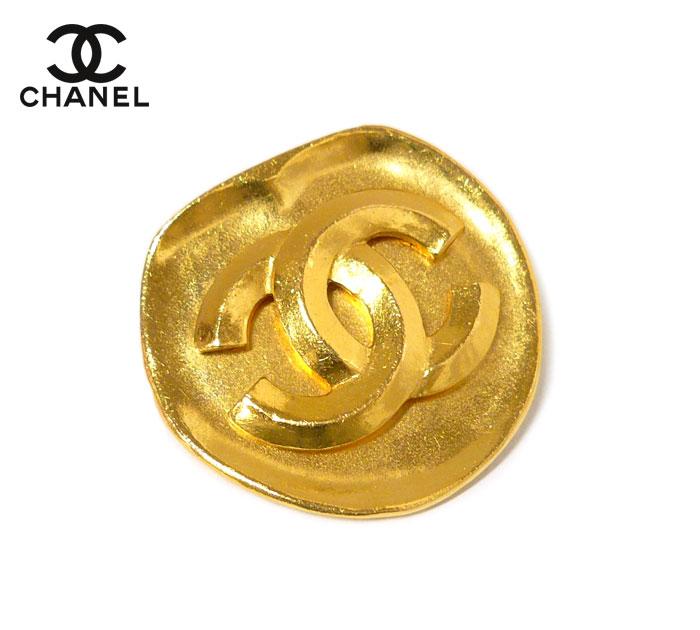 【CHANEL】シャネル ココマーク ブローチ 96P プレート ゴールドカラー 金色 金属素材 ヴィンテージ アクセサリー ON3510【中古】