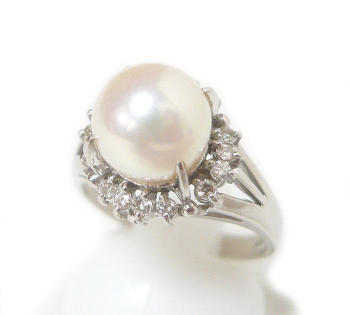 Pt900 パール ダイヤモンド リング 真珠 指輪 プラチナ サイズ14号 直径8.5mm D0.16ct ジュエリー アクセサリー ON3522【中古】