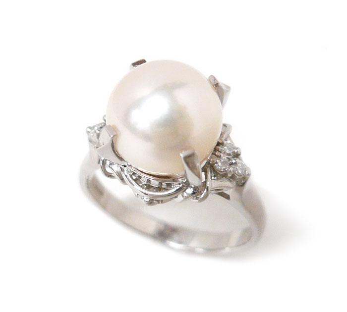 プレゼント ご褒美 マーケット ファッション アイテム 小物 装飾品 女性用 レディース Pt900 パール リング 11号 総重量5.8g ON3742 驚きの値段 直径9mm アクセサリー 0.06ct ジュエリー 指輪 中古 真珠 プラチナ ダイヤモンド