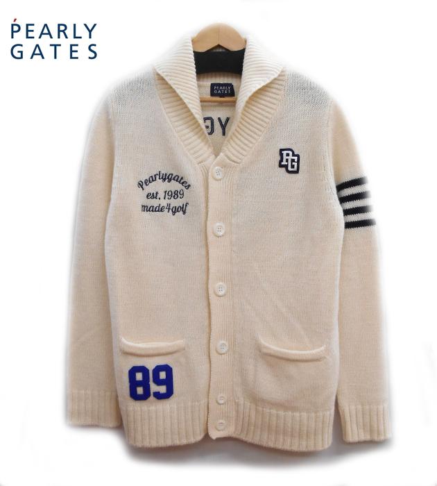 【PEARLY GATES】 パーリーゲイツ ショールカラー ニットカーディガンサイズ4 ウール オフホワイト ゴルフ FA0086【中古】