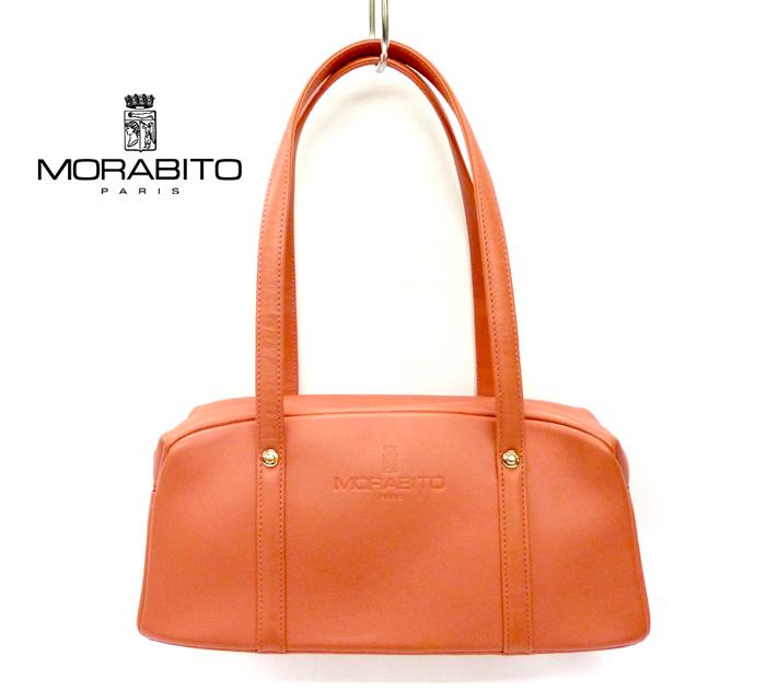 【MORABITO】モラビト パリカーフレザー ハンドバッグ MADE IN ITALY オレンジ【中古】 FF0160