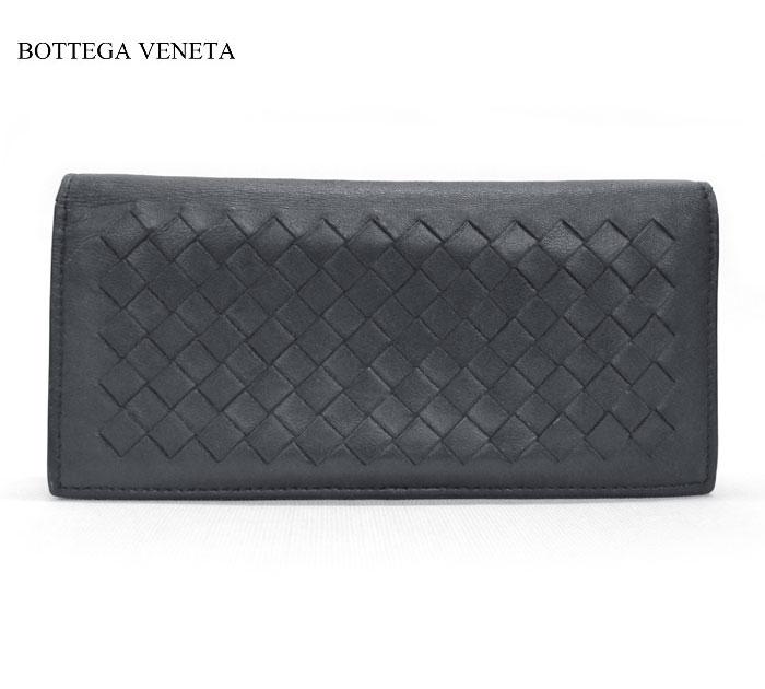 【BOTTEGA VENETA】ボッテガヴェネタ イントレチャート 二つ折り長財布 レザー 本革 ネイビー 120703 保存袋付き FB0204【中古】