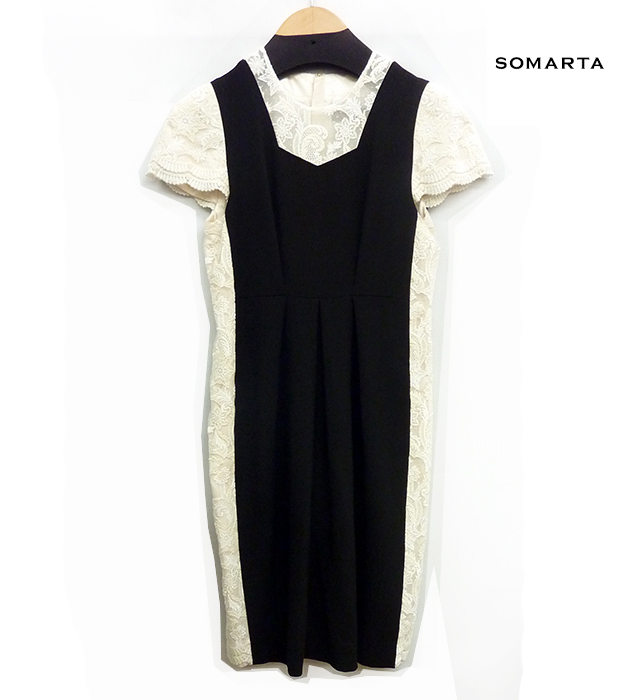 【SOMARTA】ソマルタ サイドレース ドレス パーティドレス 半袖 膝丈 ワンピース サイズ2 ブラック×ホワイト【中古】FF0489