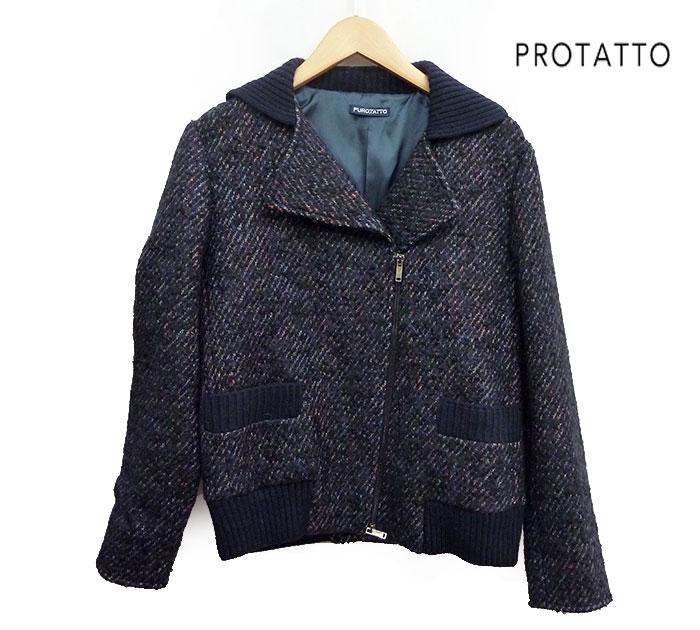 【PROTATTO】プロタット ライダース ブルゾン ニット編み ウール混 フリーサイズ 美品【中古】FF0516