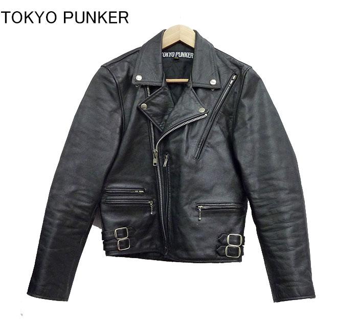 【JIMSINN】【TOKYOPUNKER】ジムズイン トーキョーパンカー ダブル ライダースジャケット レザー 革ジャン サイズ32 ブラック【中古】FF0604