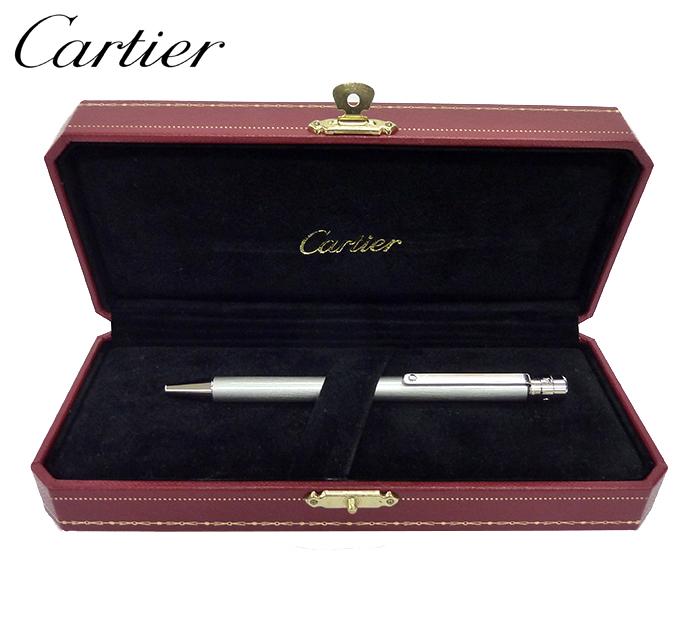 【Cartier】 カルティエ サントス ドゥ カルティエ ボールペン ST150191 スティールカラー シルバー BOX付 美品【中古】FF0645