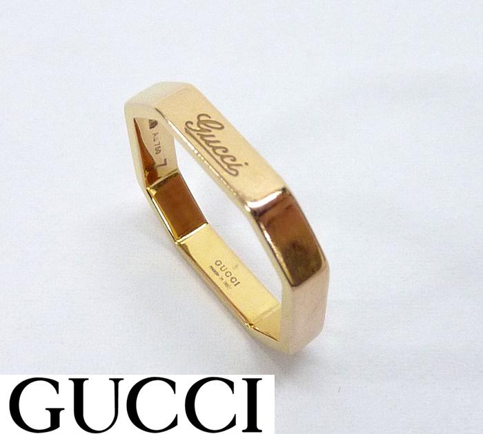 【GUCCI】グッチオクタゴナル リング 指輪 K18 750 #7 約7号 BOX付き【中古】FF0740