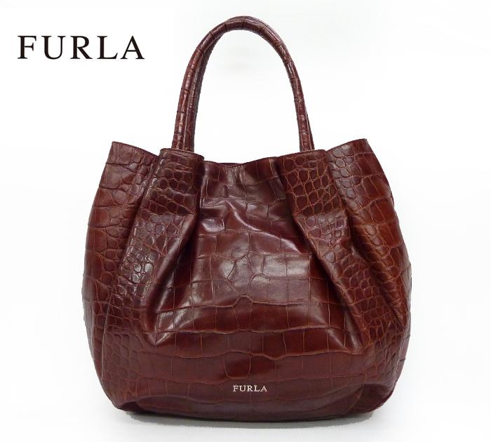 50d9dd83a5c4 【FURLA】 フルラ型押し レザー トートバッグ ハンドバッグ ブラウン【中古】FF0863