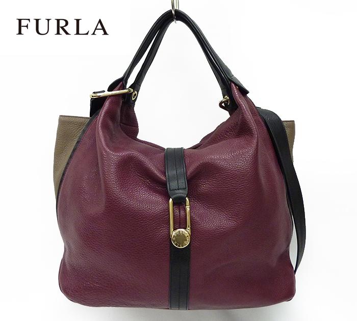 【FURLA】 フルラレザー 2way ハンドバッグ ショルダーバッグ ワイン×ベージュ 良品 【中古】FF0865