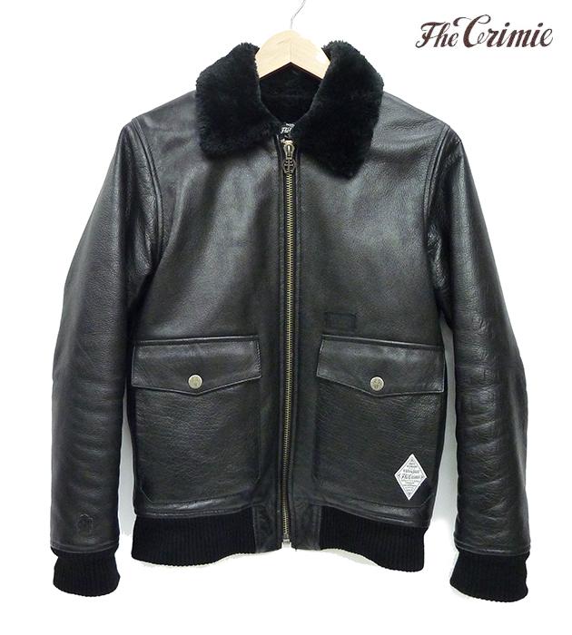【Crimie】クライミーG-1 CLOUD NINE レザージャケットブルゾン サイズS バッファロー革 黒 ブラック メンズ C1C5-JK26【中古】FB0321