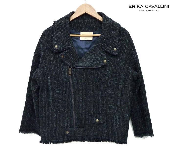 【ERIKA CAVALLINI】エリカ カヴァリーニラメツイード ライダースジャケット黒 サイズ40 タグ付きイタリア製【中古】FB0353