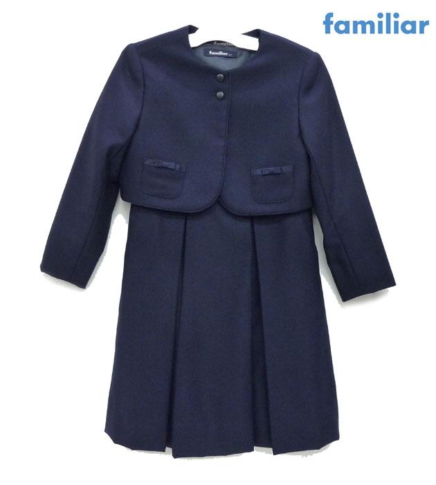 【familiar】ファミリアアンサンブル セットアップ サイズ120 ネイビー 紺 ジャケット ボレロ ワンピース フォーマル 210116【中古】FB0359