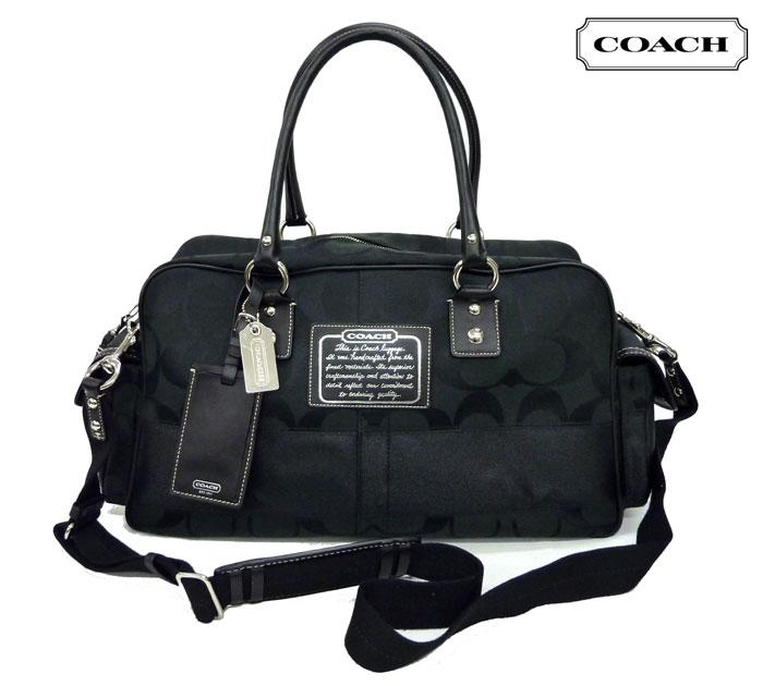 【COACH】コーチシグネチャー 2WAY ボストンバッグF77179黒 ブラックトートバッグ ハンドバッグ【中古】FB0458