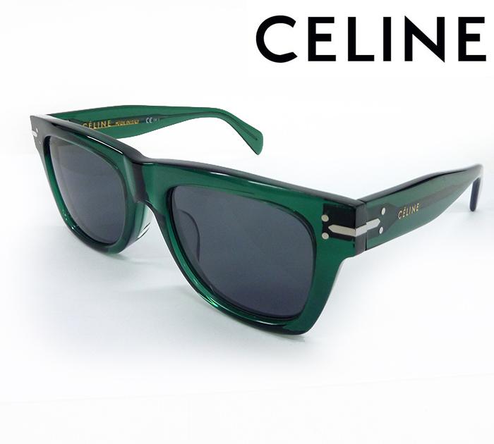 【CELINE】セリーヌスクエア サングラス CL 41046 53□21 イタリア製 グリーン ケース付【中古】FF1003