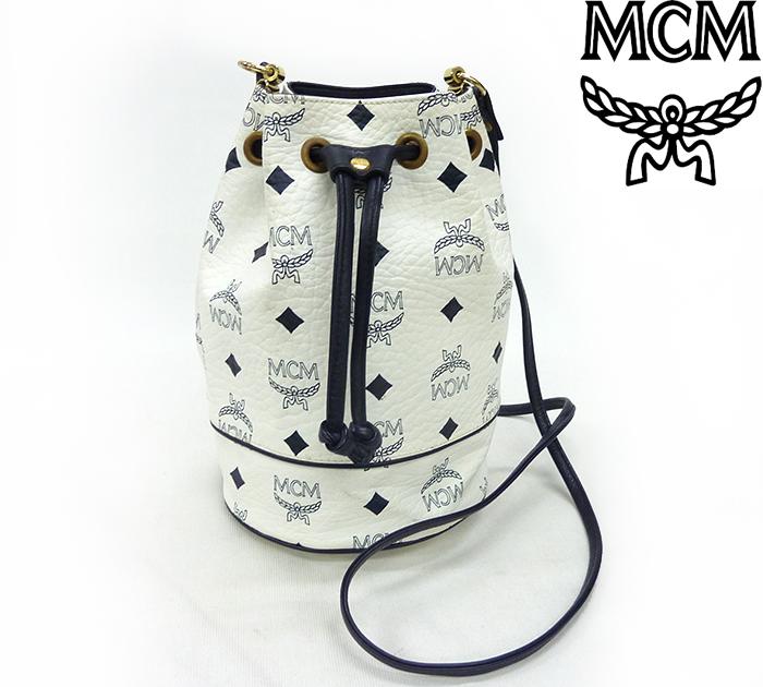 【MCM】エムシーエム巾着型 ミニ ショルダーバッグ 総柄 ロゴ ホワイト×ネイビー 【中古】FF1004
