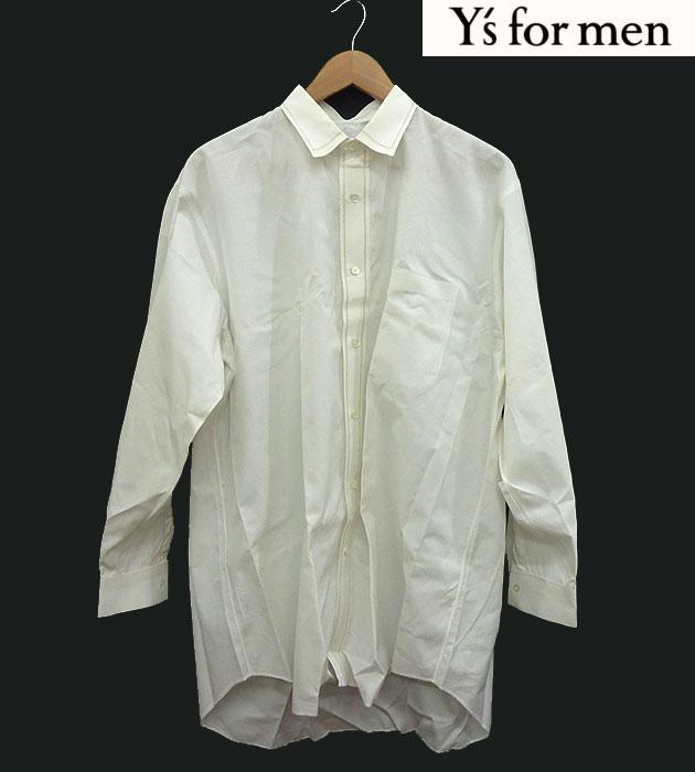 【Y's for men】ワイズ フォーメン長袖 ドレスシャツ 刺繍 オーバーサイズ ビックシルエット シェルボタン 白 【中古】FF1009