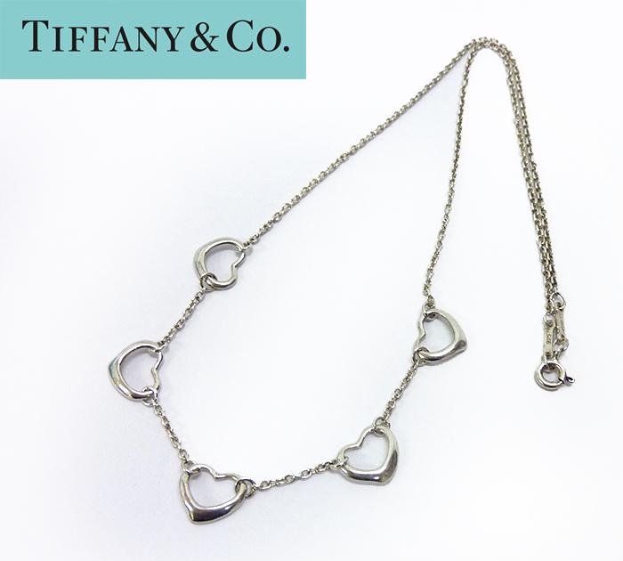 【TIFFANY&Co.】ティファニー ファイブ オープンハート ネックレス シルバー925 箱・保存袋付【中古】FF1022