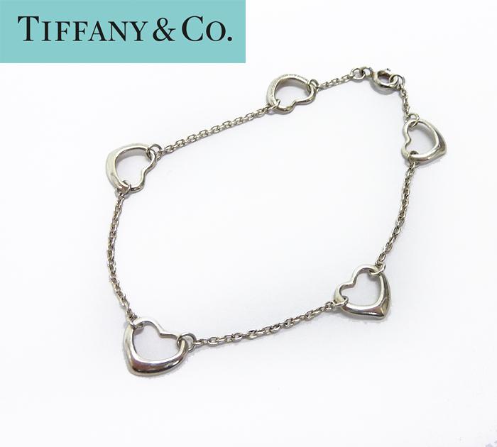 【TIFFANY&Co.】ティファニー ファイブ オープンハート ブレスレット シルバー925 箱・保存袋付【中古】FF1023