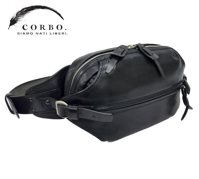 【CORBO】 コルボSTRUT レザー ボディバッグ ウエストバッグ ブラック【中古】FF1030