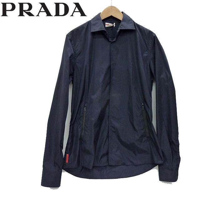 【PRADA】プラダ ナイロン ジャケット シャツブルゾン サイズ38 ブルー タグ付き 美品【中古】FF1071