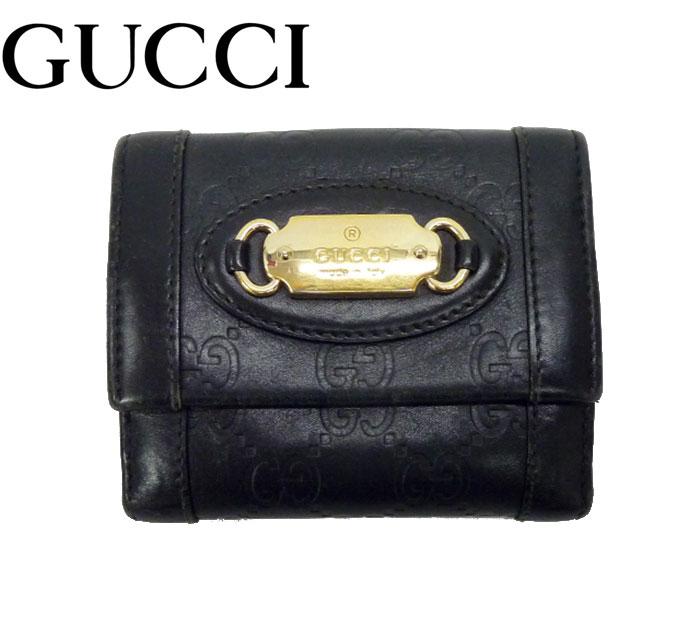 【GUCCI】グッチ GG シマ Wホック 財布 コンパクト ウォレット 2つ折り ブラック ゴールド金具【中古】FF0924