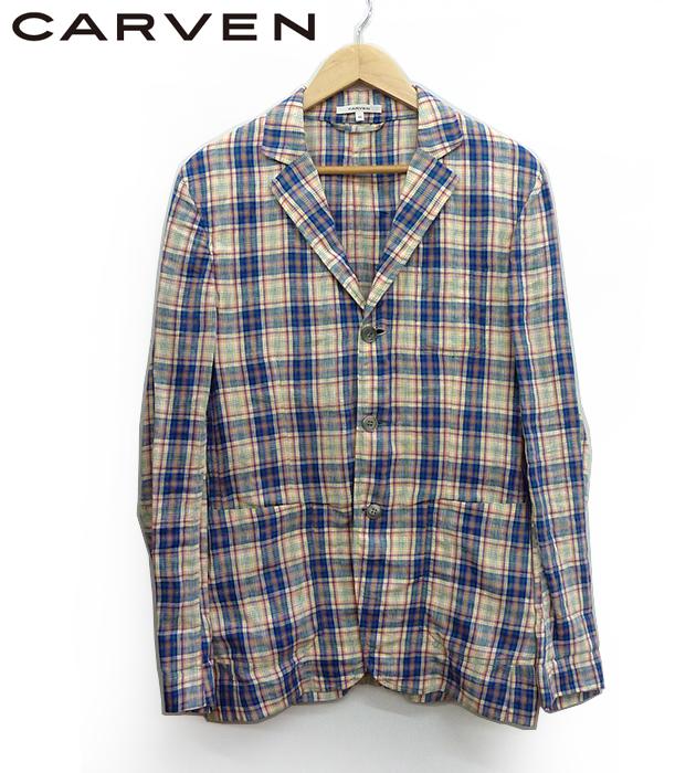 【CARVEN】カルヴェン 3B テーラード ジャケット リネン 麻 チェック柄 サイズ48【中古】FF0955