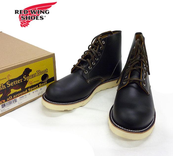 【RED WING】レッドウイング9870 アイリッシュセッター ブーツ 犬タグ 復刻 9 1/2 D ブラック 美品【未使用】【中古】FF0988