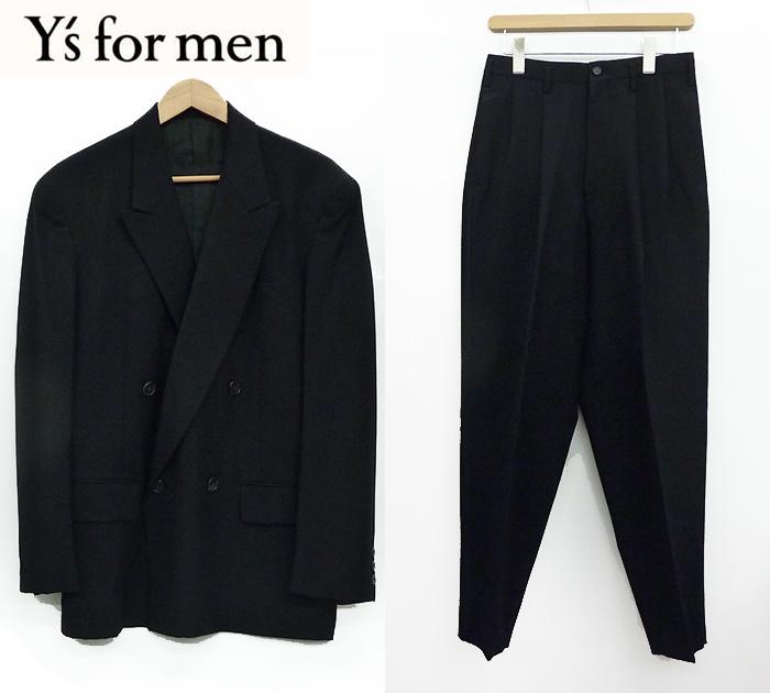 【Y's for men】ワイズフォーメンスーツ セットアップ Sサイズ ダブル 背抜き ジャケット ツータック テーパード パンツ ブラック 良品 【中古】FF0990