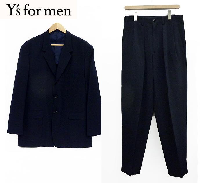 【Y's for men】ワイズフォーメン3B スーツ セットアップ Sサイズ 段返り 背抜き ジャケット ツータック パンツ ネイビー 良品 【中古】FF0991