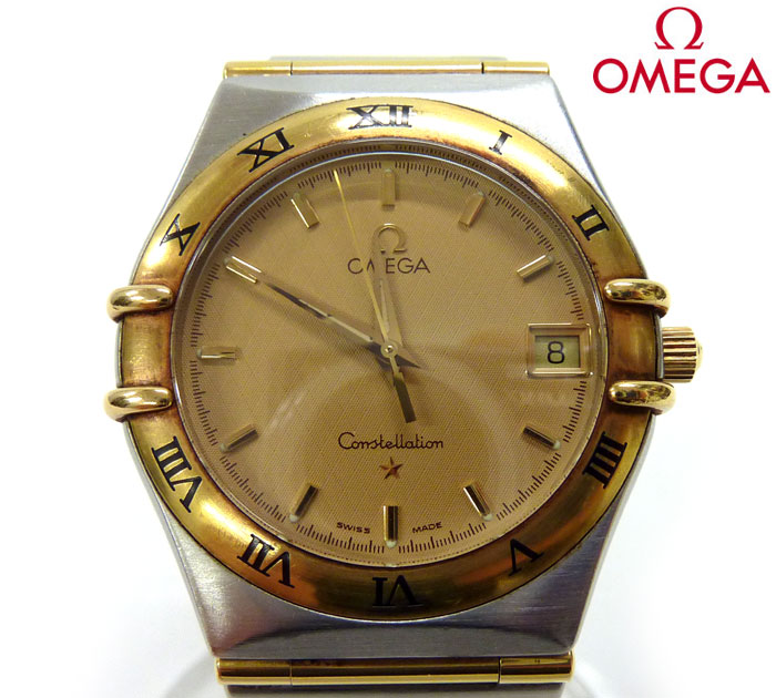【OMEGA】オメガConstellationコンステレーションクォーツ腕時計 稼働 1312.10 SS/YG シャンパン文字盤 FB0463【中古】