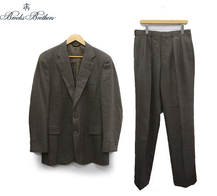【BROOKS BROTHERS】 ブルックスブラザーズ ウール 2B スーツ セットアップ ブラウン系 A8 日本製 【中古】FF1409