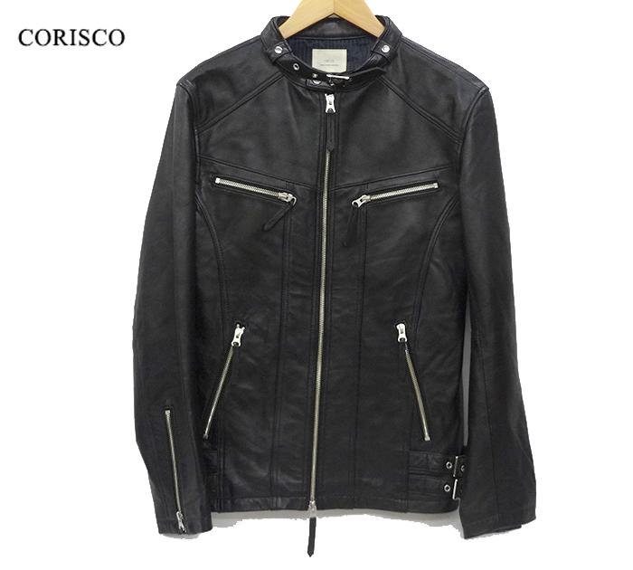 【CORISCO】コリスコ ラムレザー シングル ライダース ジャケット Lサイズ ブラック 【中古】FF1466