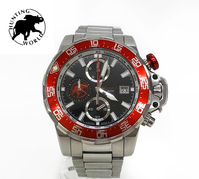 【HUNTING WORLD】 ハンティングワールド クォーツ 腕時計 HW-922 クロノグラフ アナログ ウォッチ 【中古】FF1678