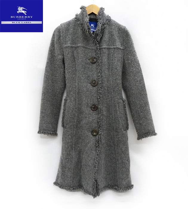 【BURBERRY BLUE LABEL】 バーバリー ブルーレーベル ウール コート サイズ38 グレー 【中古】FF1696
