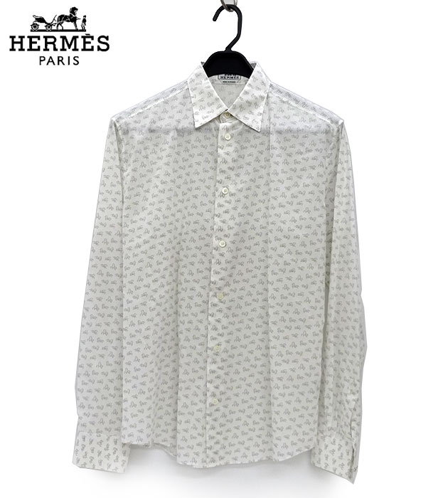 【HERMES】エルメス ホース柄 総柄 セリエボタン ドレスシャツ 39 15 1/2 長袖 美品 【中古】FF1777