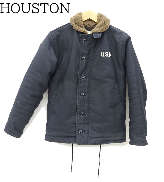 【HOUSTON】 ヒューストン N-1 デッキジャケット サイズ36 ネイビー ミリタリーウェア 【中古】FF1818
