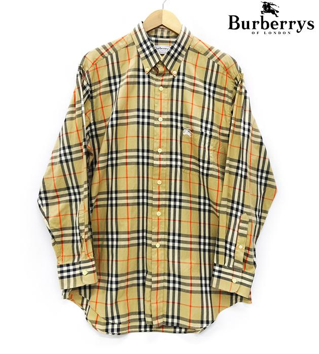 【burberrys】バーバリー ヴィンテージ ノヴァチェック 長袖 シャツ ボタンダウン BD ロングスリーブシャツ L/Sシャツ サイズ41 Lサイズ ホース刺繍 ブラウン ノバチェック 【中古】FB0877
