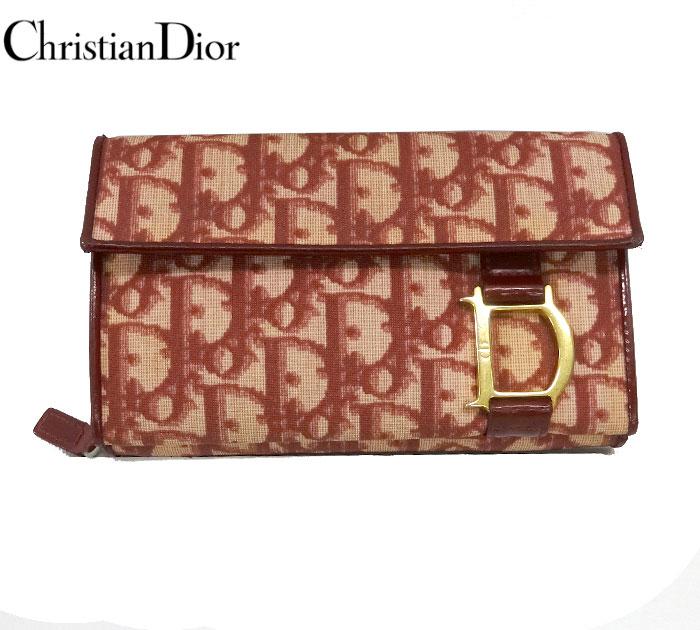 【Christian Dior】 クリスチャンディオール トロッター 財布 ヴィンテージ ウォレット ラウンドファスナー 小銭入れ レッド系 【中古】FF1864