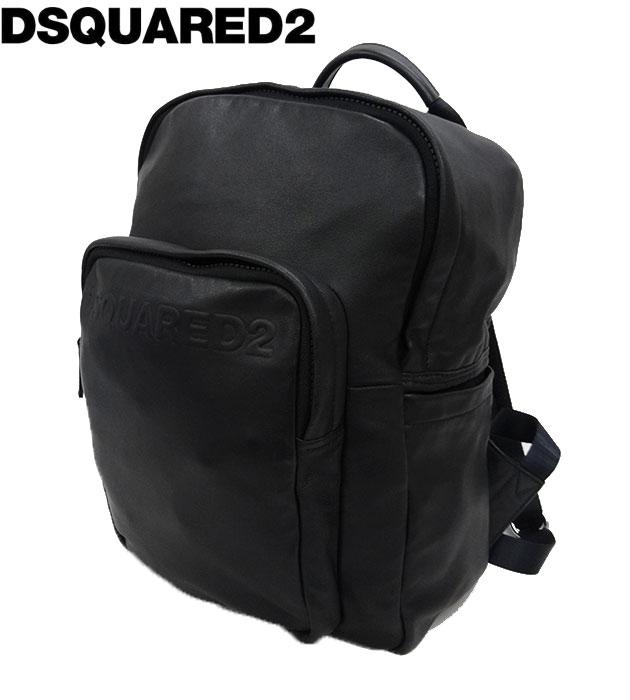 【Dsquared2】 ディースクエアード レザー リュック バッグパック BP1193 ブラック 黒 良品 【中古】FF1960