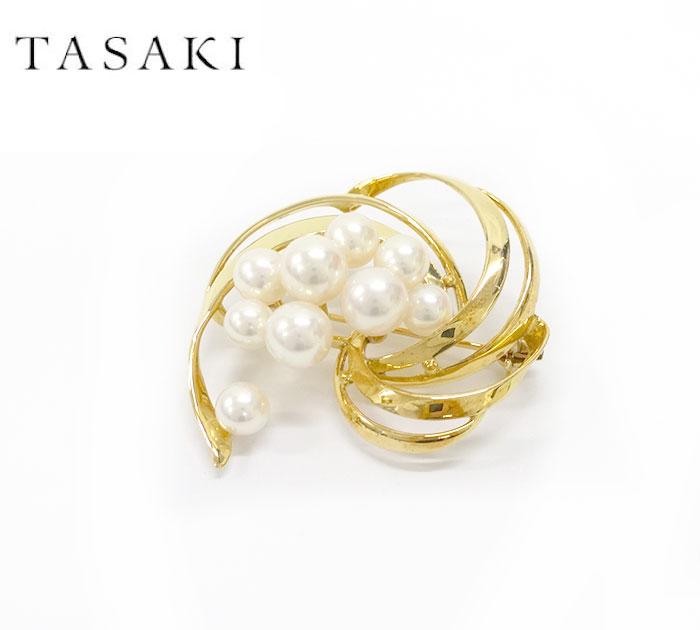 【TASAKI】タサキ K18 YG パール 真珠 ブローチ イエローゴールド 田崎真珠【中古】FF1990