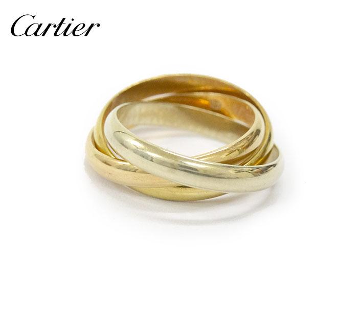 【Cartier】カルティエ トリニティーリング #46 約6号 指輪 スリーカラー K18 PG YG WG BOX付き 【中古】FF1993