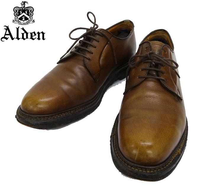 【ALDEN】オールデン #947 オールウェザーウォーカー 革靴 9C グレインレザー プレーントゥシューズ ブラウン 茶系 【中古】FF2023